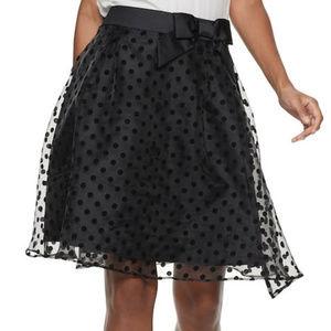 Elle Flocked Organza Polka Dot A-Line Skirt - 10